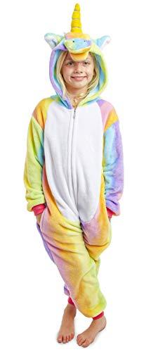 CityComfort Drachen-Kostüm,Dinosaurier Einhorn Koala Pinguin Kinder Jungen Mädchen Onesie Jumpsuit Anzug Kostüm Verkleidung Geburtstags (5-6 Jahre, Regenbogen farbiges Einhorn)