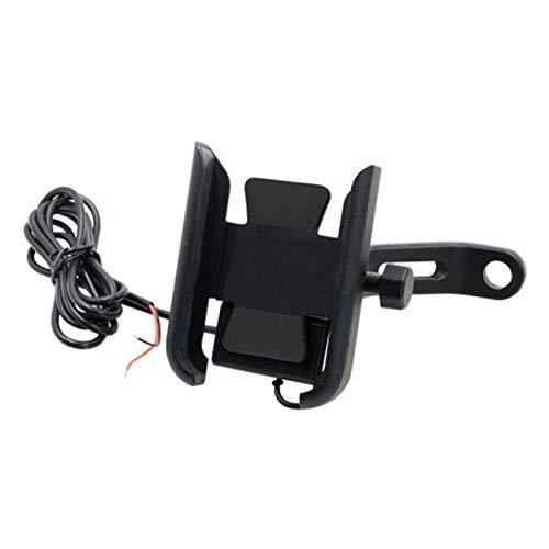 Linger DC12V 5V 2A Soporte de teléfono de la motocicleta Montaje del espejo de bicicleta de rotación de 360 grados con el cargador USB que se ajusta al soporte de los teléfonos móviles de 4-6.5 pulg
