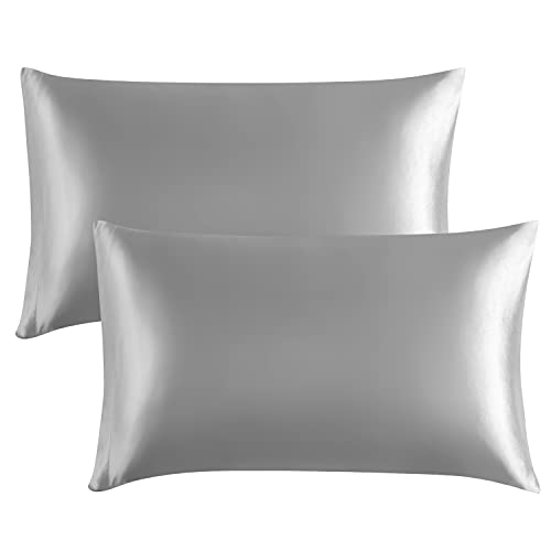 EXQ Home Silky Satin Pillowcase for Hair and Skin,Soft Grey Pillow Cases Queen Size Set of 2 Satin Pillow Case with Envelope Closure Silver Grey( 20x30 inches)