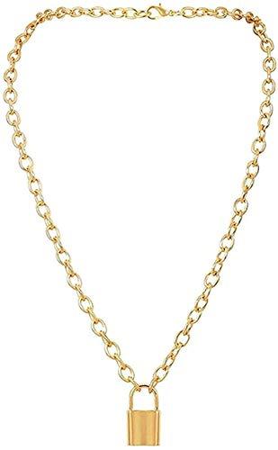 ZPPYMXGZ Co.,ltd Collar de Moda Punk Lock Key Collar Colgante Gargantilla Miami Cuban Chunky Grueso Collar de Cadena Joyería para Mujeres