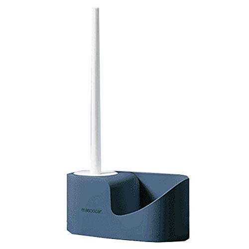 Cepillo de inodoro, Baño limpiador profundo cepillos de silicona cepillo de inodoro de silicona con soporte de secado rápido Set-blue_one size
