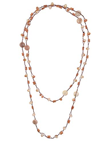 Coin Shape Sunstone with Roundel Coral Crystals Cord Knotted Long Necklace for Women Girls Mothers Gift 50'