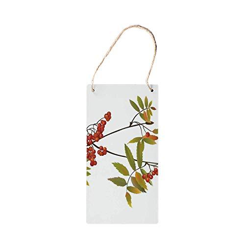 MNUT Rowan Pancarte en Bois à Suspendre, Arbre de fraicheur Organique, Plantes de Jardinage, Illustrations décoratives 25,4 x 12,7 cm