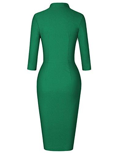 MUXXN Women's Classic Retro Tie Neck Sheath Slim Casual Work Dress (Green S)