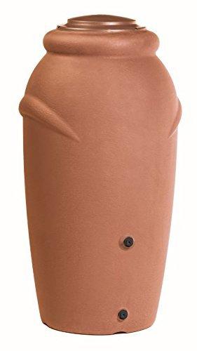 Regentonne 210 Liter [Amphore Design] Regenfass Frostsicher aus Kunststoff - Regenwassertonne mit Wasserhahn - Regenwassertank Garten (Terracotta)
