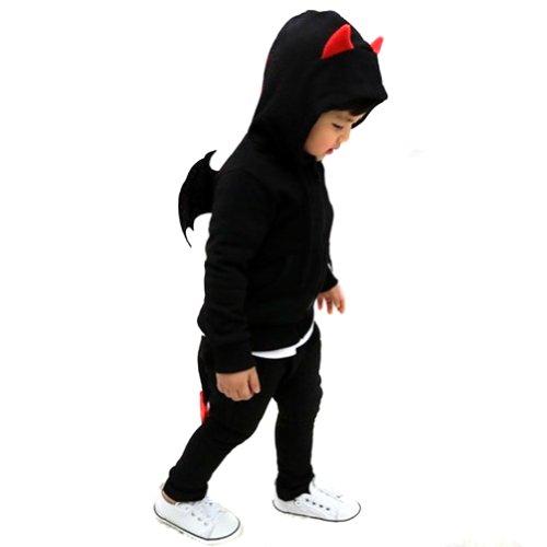 Conjunto de disfraz de diablo unisex para nios FBB006BLKL, con sudadera con capucha y pantaln deportivo LOCOMO Negro negro