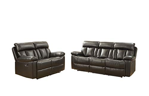 Betsy Furniture Bonded Leather Reclining Couch Sofa Set, Living Room Set (Grey, Sofa+Loveseat)