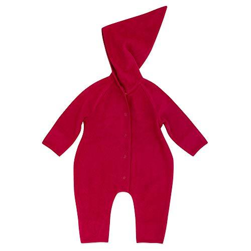 Zutano Cozie Fleece Baby One-Piece Elf Romper with Hood, Cranberry, 12M