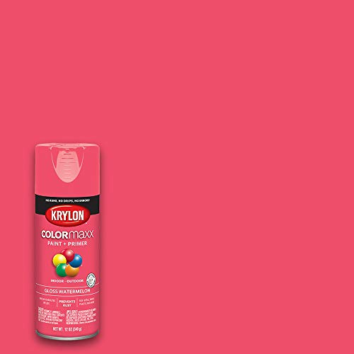 Krylon K05544007 COLORmaxx Spray Paint and Primer for Indoor/Outdoor Use, Gloss Watermelon Pink