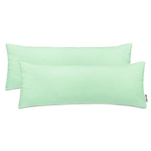 DecoKing 2 fundas de almohada 40 x 120 cm, jersey de algodón con cremallera, menta y ámbar.