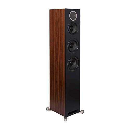 For Sale! Elac Debut Reference F5.2 Floorstanding Tower Speaker - (Each) Black Baffle, Walnut Cabine...