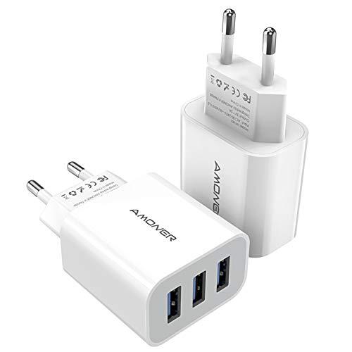Amoner USB Ladegerät USB Stecker 15W Ladestation Ladeadapter -2 Stücke 3 Port 15W Netzteile für iPhone, iPad,Tablette,Samsung, Galaxy, Huawei usw. (Weiss)