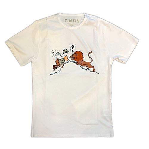 Moulinsart T-Shirt de Tintin et Milou au Congo Face au Lion (2019) - S