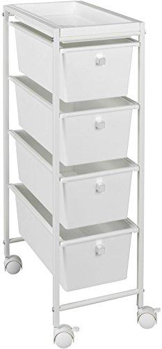 WENKO Schubladenwagen Gala - Haushalts-Rollwagen, Küchenwagen, 4 Schubladen, pulverbeschichtetes Metall, 22.5 x 76.5 x 38.5 cm, Weiß