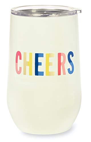 Kate Spade New York Insulated Stainless Steel Wine Tumbler, 12 Ounce Double Wall Travel Cup with Lid, Cheers