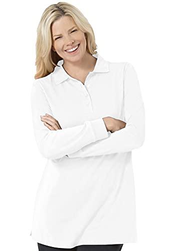 Woman Within Women's Plus Size Long-Sleeve Polo Shirt - 2X, White