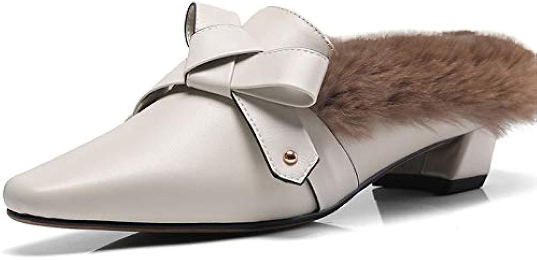 MENGLTX High Heels Sandalen Mode Retro High Heels Bowtie Bowtie Party Hochzeit Schuhe Frau Echtes Leder Spitz Pumps Damen Slingbacks Pantoletten