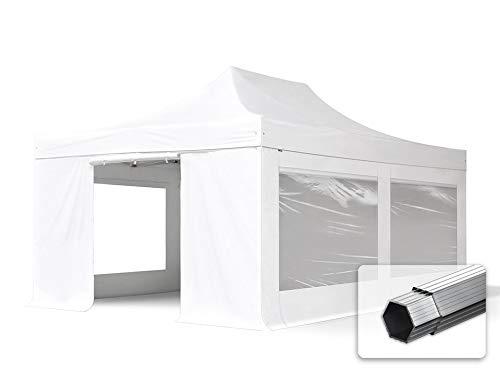 TOOLPORT ALU Pavillon Faltpavillon 4x6m mit Panoramafenstern robust und wasserdicht Professional 55mm Partyzelt weiß feuersicher