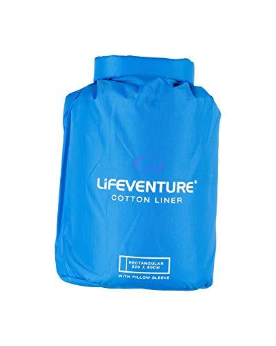 Lifeventure 65540 Cotton Sleeping Bag Liner, Rectangular (Blue) Unisex-Adult