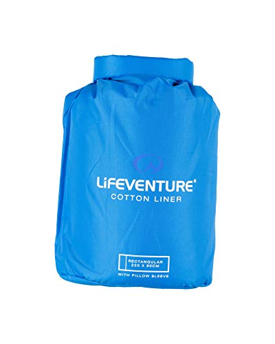 Lifeventure 65540 Cotton Sleeping Bag Liner, Rectangular (Blue) Unisex-Adult