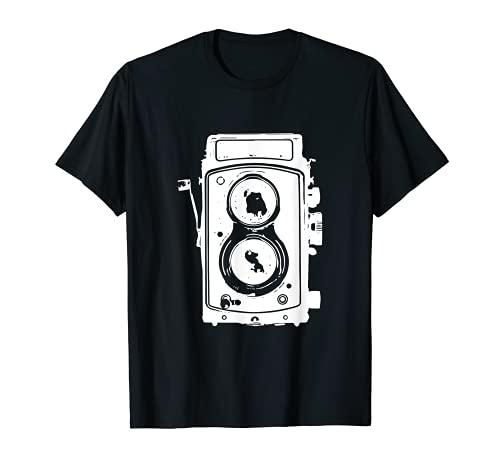 Lente de cámara vintage y apertura de objetivo para fotógrafos. Camiseta