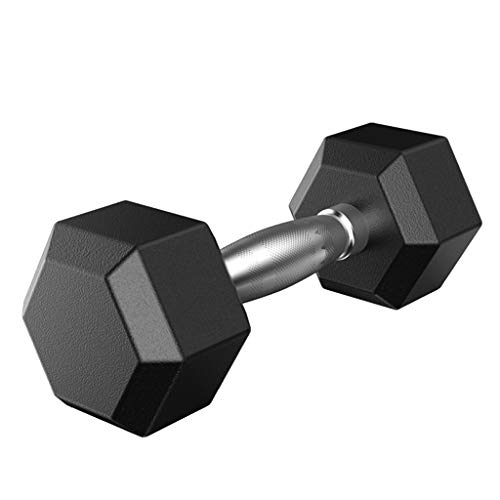 Hex Rubber Dumbbells Set, Fitness Heavy Barbell with Metal Handles, Choose Weight 5lbs / 10lbs / 20lbs / 30lbs / 50lbs (Black, 5lbs)