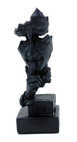 Perfekto24 Deko-Figur Schweigen ist Gold wert – Moderne Skulptur in Schwarz (14cmx5cm) – edle Dekoration ideal für Glas-Vitrine, Regal, Kommode, Deco-Tisch & Fensterbank