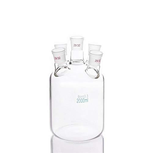 LUHUAPING De una sola capa cilíndrico de fondo plano de cuello y cinco a 2000 ml, frasco, conjunta 29/32, de una sola capa de botellas Reactor, Suministros Micro oblicua cuello cristalería de laborato