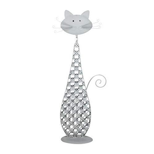 CAPRILO Figura Decorativa de Metal Gato Grande con Bigotes. Adornos y Esculturas. Decoración Hogar. Regalos Originales. 34 x 8 x 6 cm.