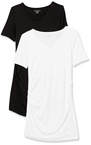 Amazon Essentials Maternity 2-Pack Short-Sleeve Rouched V-Neck T-Shirt Fashion Shirts, Nero/Bianco, S