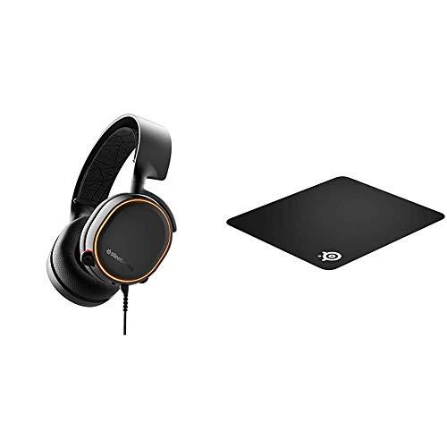 SteelSeries Arctis 5 (Gaming Headset, RGB-Beleuchtung, DTS Headphone:X v2.0 Surround) schwarz & QcK+ - Gaming-Mauspad - 450mm x 400mm x 2mm - Stoff - Gummiunterseite - Schwarz