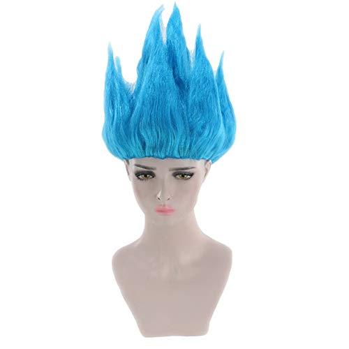 GHK Goedkope Son Goku Kakarotto Dragon Ball Cosplay Pruik Zwart Wit Geel Blauw Roze Korte Party Kostuum Pruiken Voor Vrouwen En Mannen Blauw