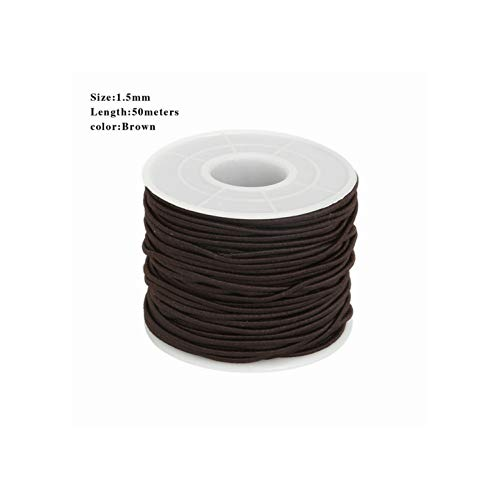Round Elastic Cord Beading Stretch Thread for DIY Jewelry Making Necklace Bracelet Material,Brown 40m