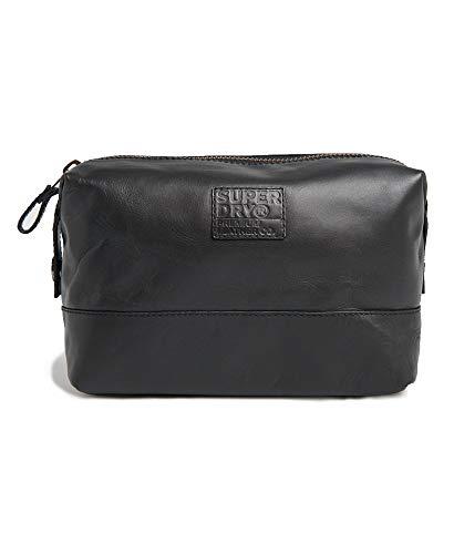 SUPERDRY Leather Premium WASHBAG Black