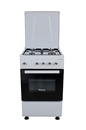 Cocina 50 cm de ancho con horno PROXY, color blanco, 4 fuegos y horno con grill a gas (butano o natural).