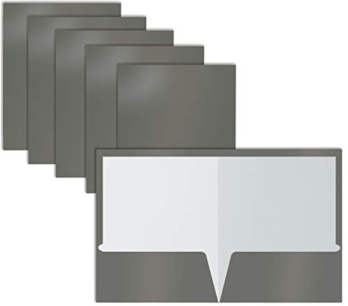 2 Pocket Glossy Laminated Gray Paper Folders, Box of 25, Letter Size, Gray Paper Portfolios by Better Office Products, 25 Pack