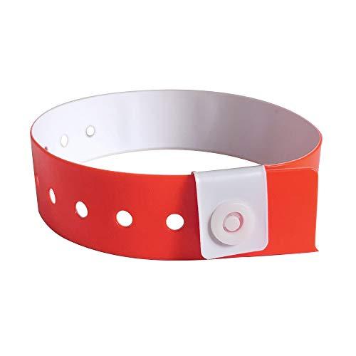 Lote de 500 pulseras de identificación, vinilo, pulseras de plástico, pulseras venemenciales, vinilo, pulseras de identidad, pulseras de control (rojo)