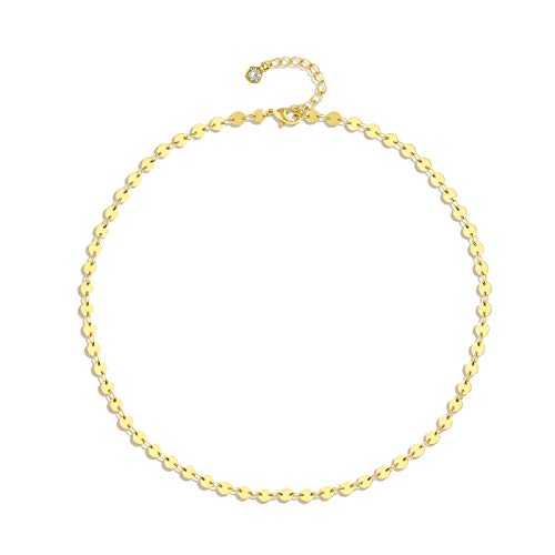 Gold Coin Choker Dainty 14K Gold Plated Sequin Chain Choker Necklace Tiny Coin Disc Tattoo Necklace Jewelry Gift for Women