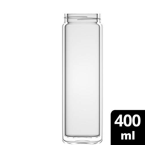 amapodo Teeflasche Ersatzglas - Tee Glas Flasche einzeln 400ml (Design - ohne Muster)