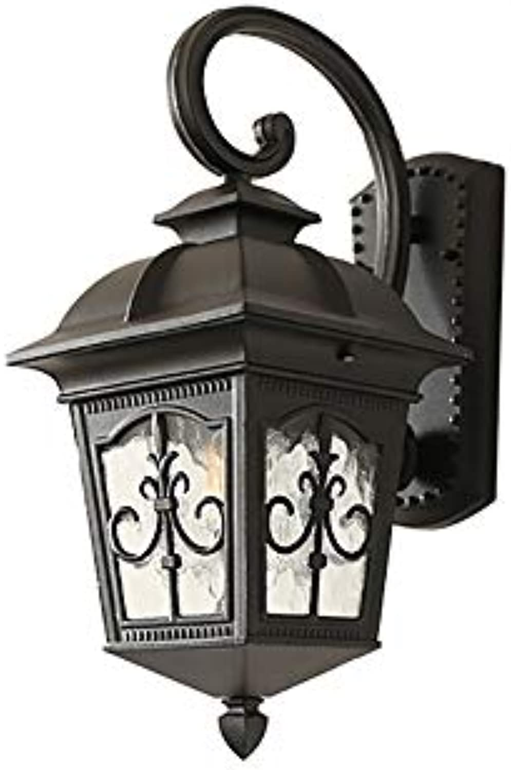 Garden Waterproof Wall Lights European Retro Lantern Wall Sconce Mounted Antique for Home Open-air Patio Yard Villa Stairs Decoration with E27 Light Source Fitting,schwarz