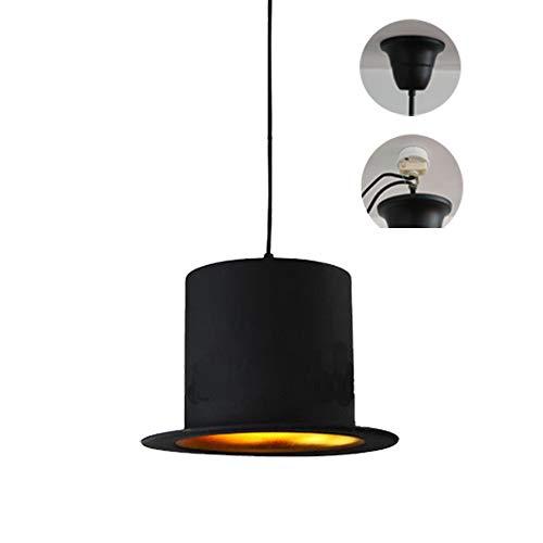 FSLiving ペンダントライト 帽子 工業ヴィンテージ レトロエジソンスタ 鉄製 ィングロフト照明ランプシャンデリア 電気 ブラック A