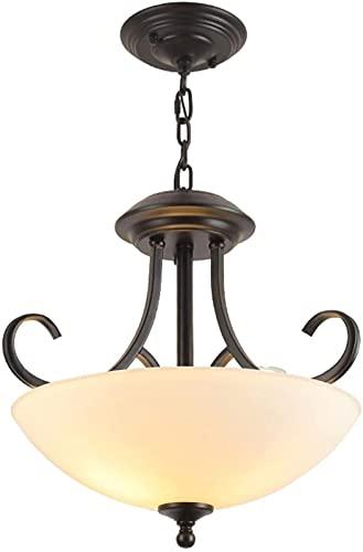 Lámpara Colgante Minimalista de Arte de Hierro, lámpara de Techo con Cadena Ajustable, Pantalla de Vidrio, Accesorio de iluminación para Interiores clásicos, para Volver a