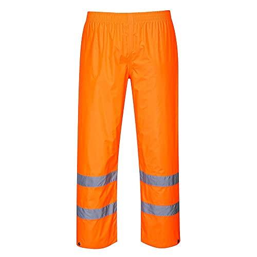 Portwest H441 Pantaloni Antipioggia ad Alta Visibilità, Arancione, L