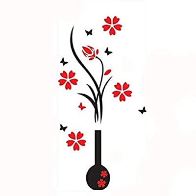 Ikevan Hot Selling 3D Wall Stickers, DIY Vase Flower Tree Crystal Arcylic 3D Wall Stickers Home Livingroom Decoration 80X40cm
