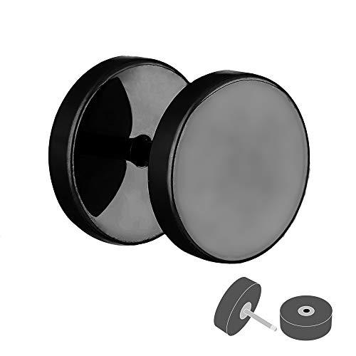 Treuheld® | Fake Plug Ohrstecker aus Chirurgenstahl 316L | 1,2mm x 6mm - Schwarz | Fake Tunnel - Ohrring zum Schrauben für Damen und Herren