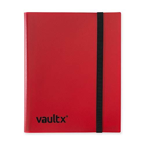 Vault X Sammelkarten-Album - 9 Fächer Sammelkarten Trading Cards Mappe - 360 Fächer mit Seitenöffnung für Spielkarten zum sammeln und tauschen (rot)