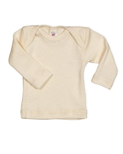 Baby Unterhemd langarm, 100 Wolle, Engel Natur, Gr. 98/104