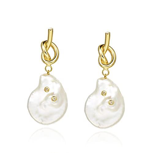 hkwshop Pendientes Mujer S925 Pendientes de Plata de Plata Pendientes de Perlas barrocas para Mujeres New Temperament Pendientes Retro Pendientes Pendientes de Perlas Stud Pendientes