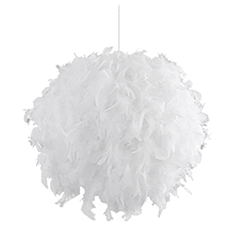 FREETT Pluma Lámpara Colgante, Blanca Luz Colgante Esférica Esponjoso Suave Pantalla, Cable Ajustable, Moderno E27 Iluminación Colgante para Habitación Infantil Dormitorio Comedor