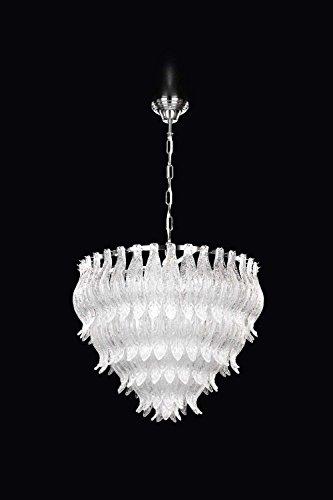 Petali Murano Glas Kronleuchter in Chrom transparent | Handgefertigt in Italien | Luster Modern Dimmbar | Lampe E27